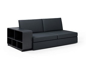 Black Sofa With Bookcase 3D model