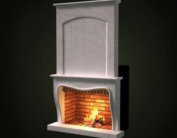classic white fireplace 3d