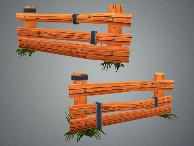low poly farm fence 3d model low-poly max obj mtl fbx tga 1