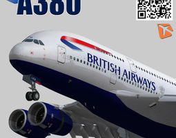 airbus 380-8 british airways livery 3d model low-poly rigged animated 3ds fbx
