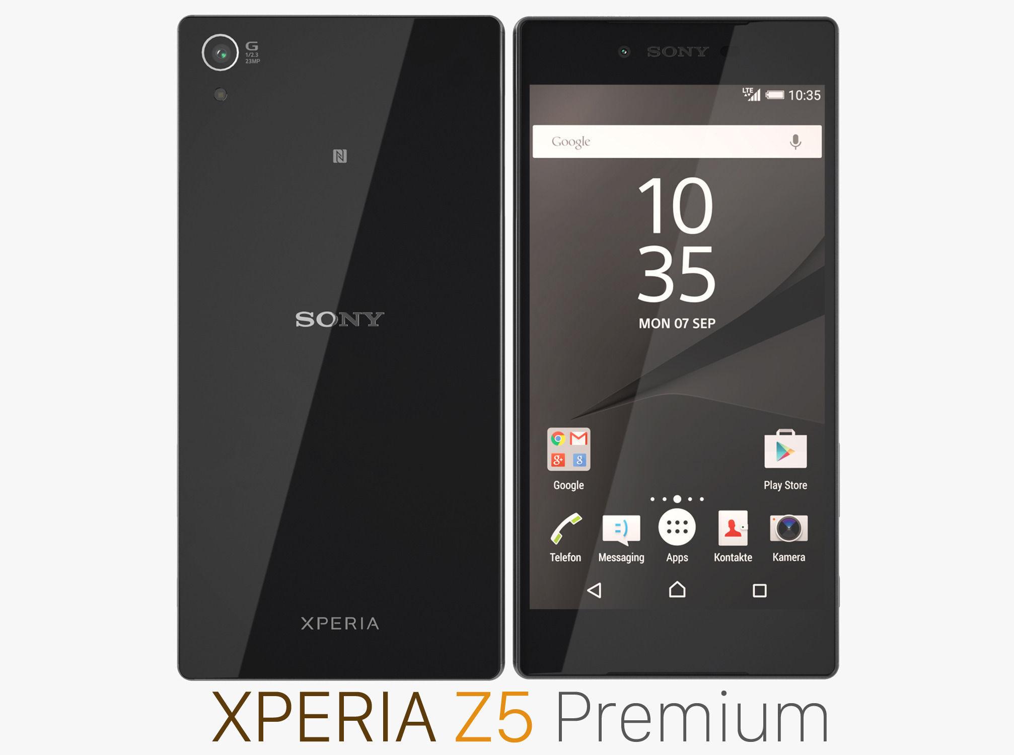 sony z5 premium. sony xperia z5 premium black 3d model max obj fbx mtl 1