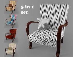 3d model hungarian cultic armchair 5 in 1 set for 3 price