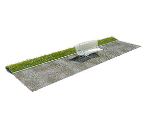 3D White Metal Park Bench