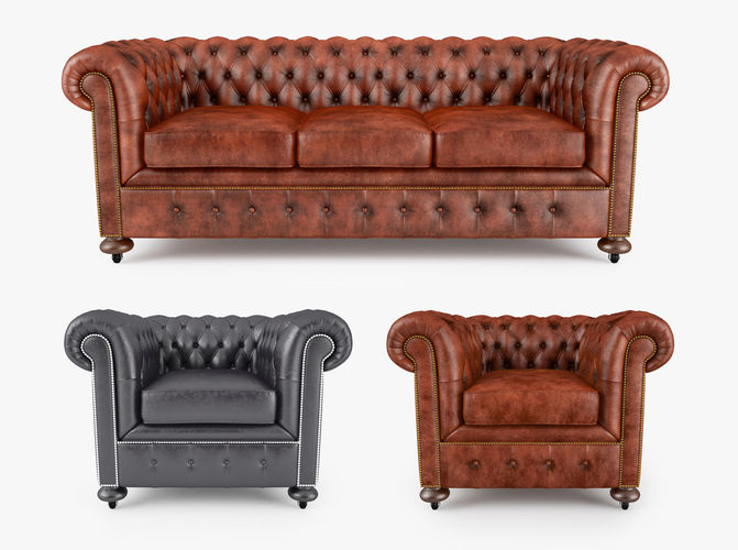 william blake chesterfield sofa collection 3d model max obj fbx 1