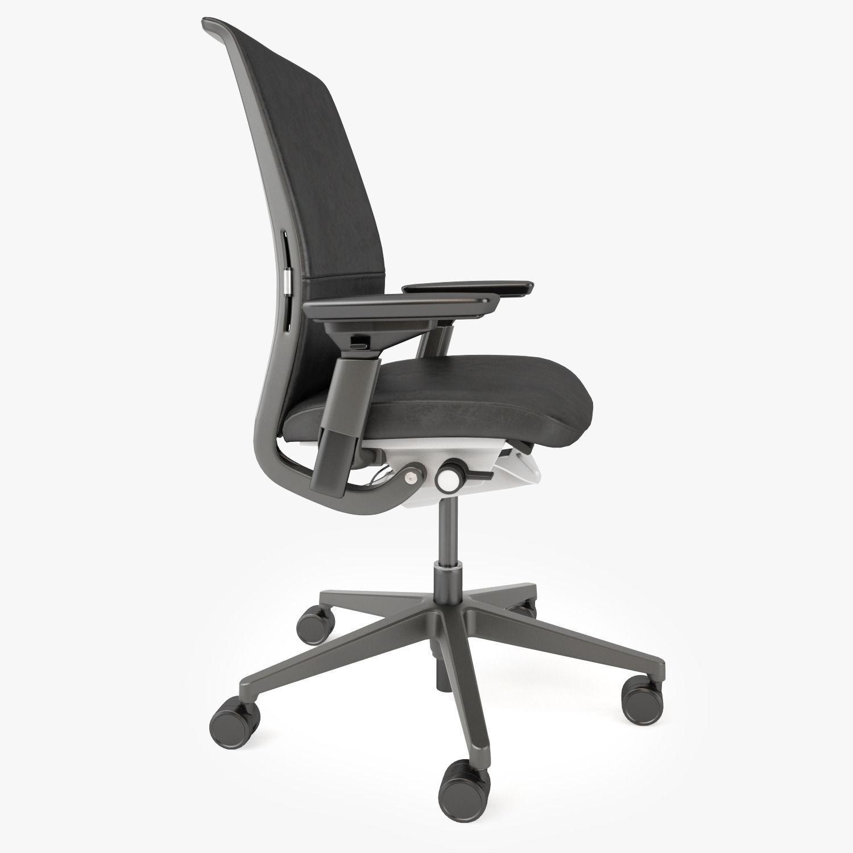 crate and barrel steelcase think ebony chair 3d model max obj fbx mtl 3