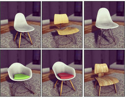 classic eames chairs VR / AR ready 3d model