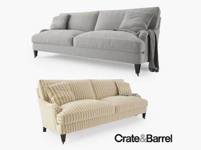 crate and barrel essex sofa with casters 3d model - Crate And Barrel Sofa
