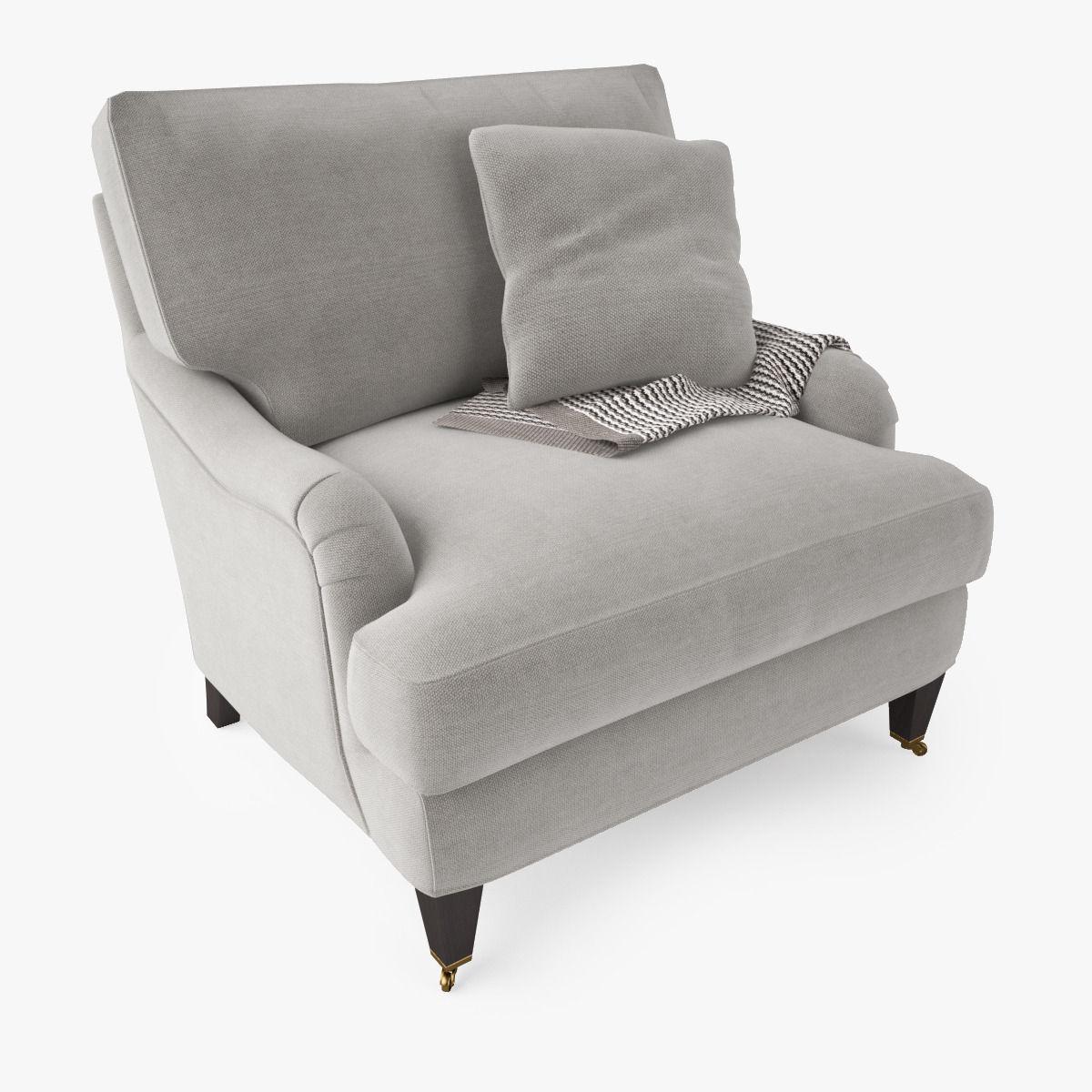... Crate And Barrel Essex Chair With Casters 3d Model Max Obj Fbx Mtl 5 ...