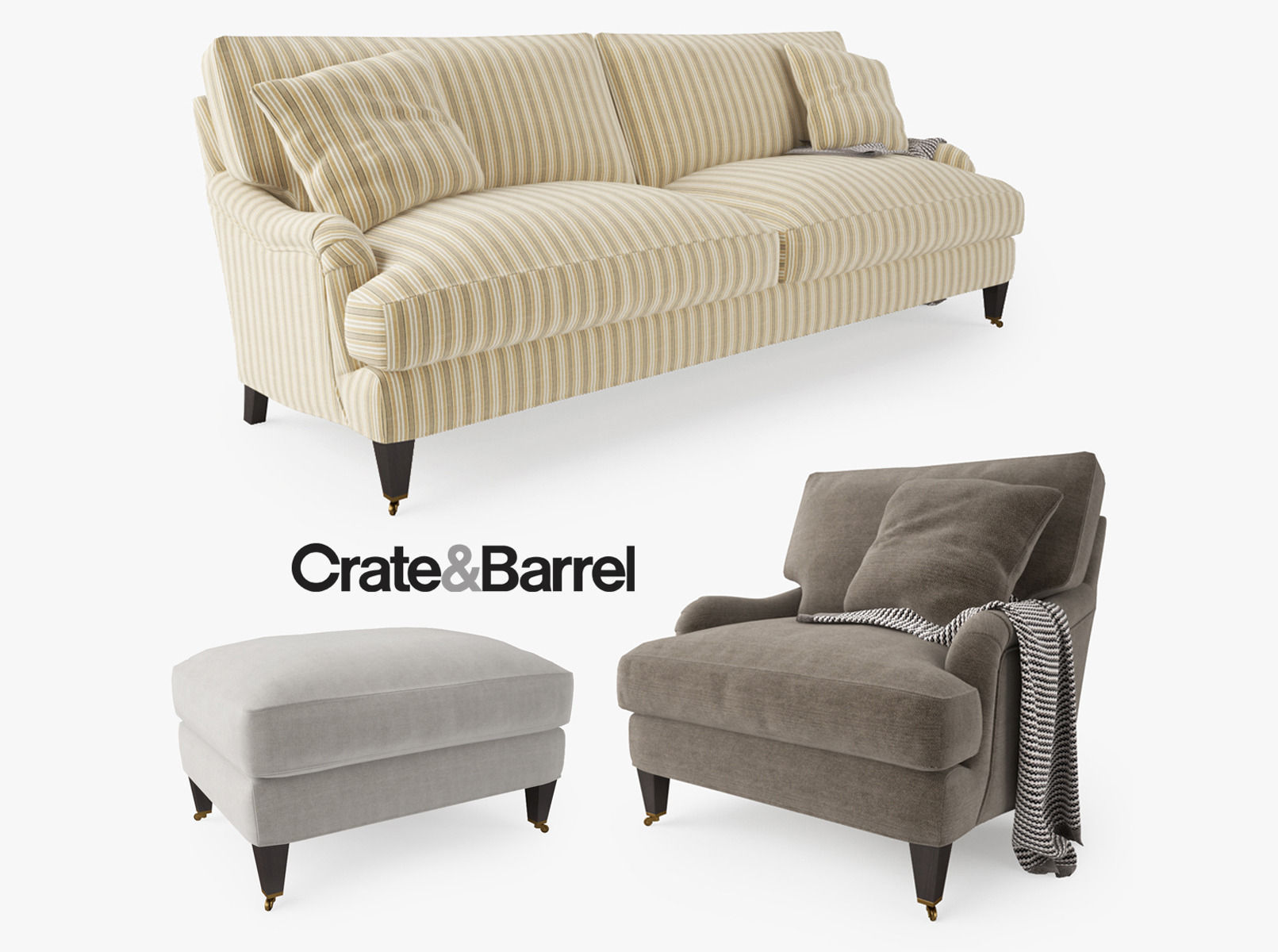 3d model crate and barrel essex sofa collection cgtrader