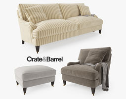 3D model Crate and Barrel Essex Sofa Collection