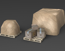 3D asset Boxes with pallet