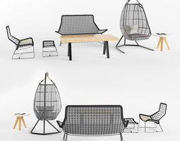 garden furniture set 1 3d model