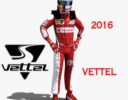 game-ready rigged 3d model sebastian vettel 2016