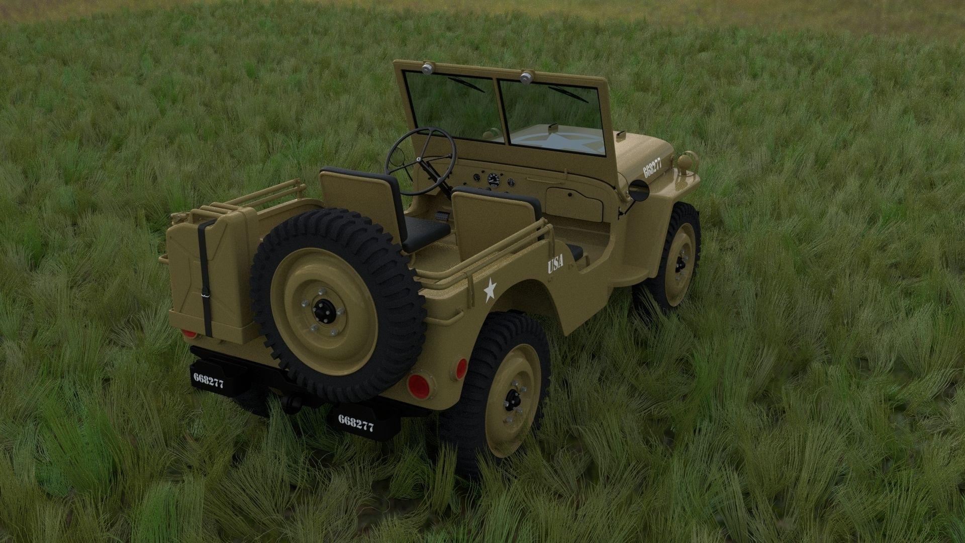 full w chassis jeep willys mb military desert hdri 3d model obj fbx stl blend dae mtl. Black Bedroom Furniture Sets. Home Design Ideas