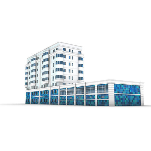 modern building with swimming pool 3d model max obj 3ds fbx mtl 1