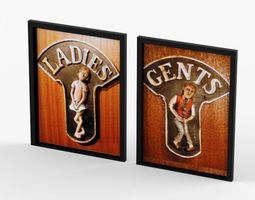 funny ceramic relief toilet signs ladies and gents 3d model