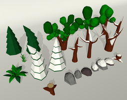 Low poly trees set 3D asset