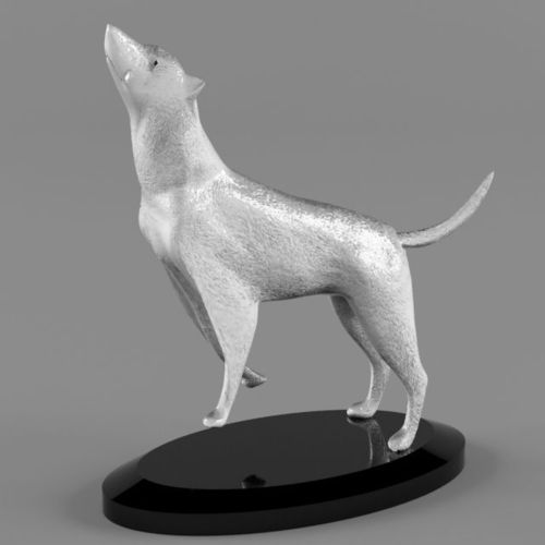high detailed silver wolf statue 3d model max obj mtl fbx 1