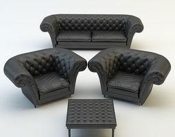 Chesterfield  sofa armchair chair 3D Model