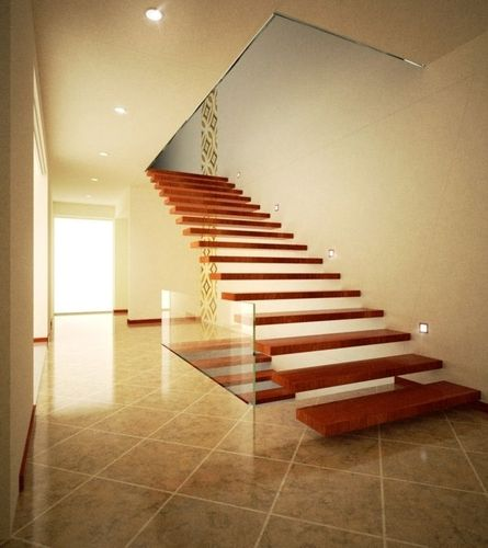 Modern hall and stairs with textures