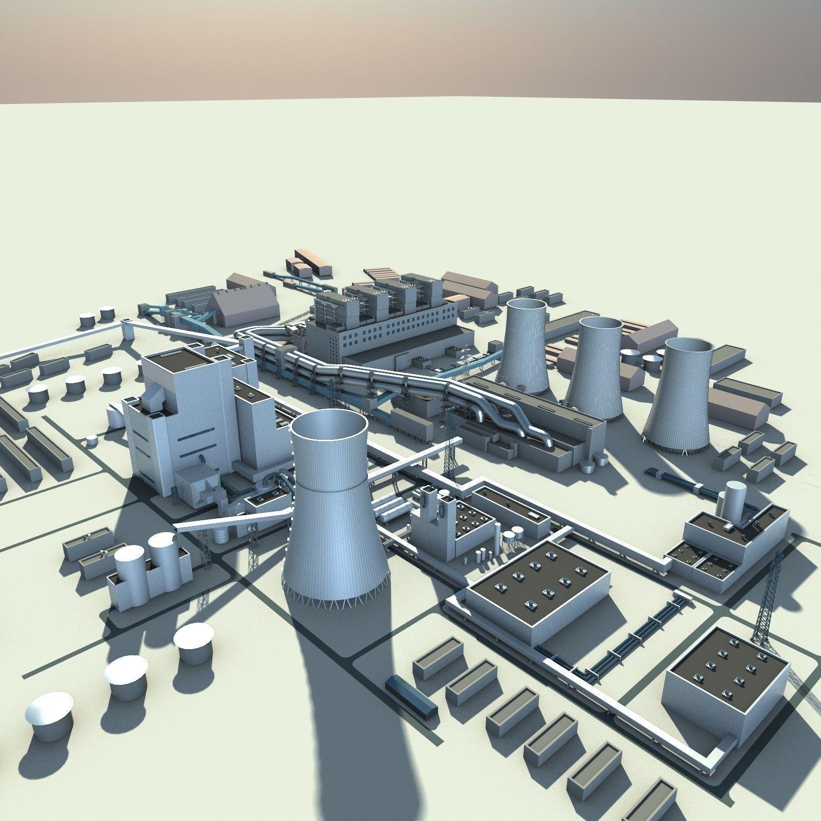 Thermal Power Plant 3d Model Max Obj 3ds Fbx Cgtrader Com