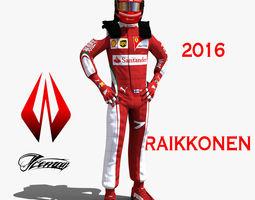 3d asset kimi raikkonen 2016 VR / AR ready rigged
