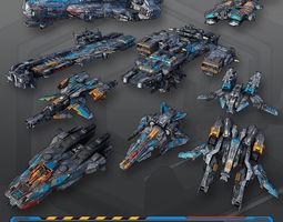 9 Low-Res Spaceships 3D Model