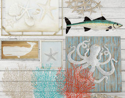 Set Sea Coral Picture Panel Board 3D 3D Model