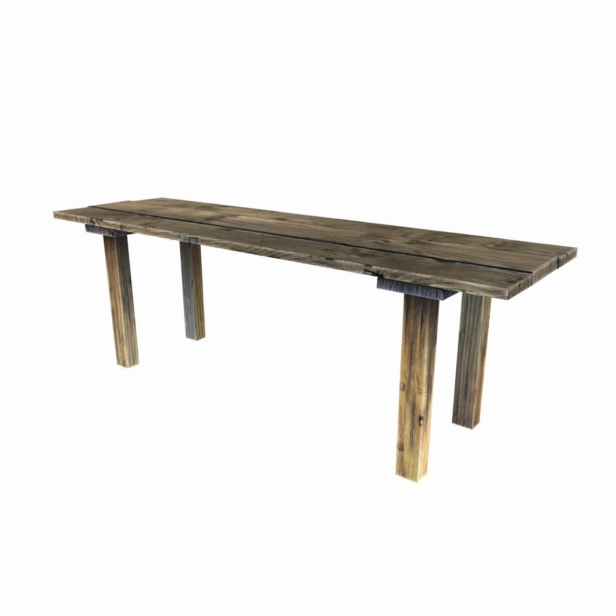 3D asset Old wooden table