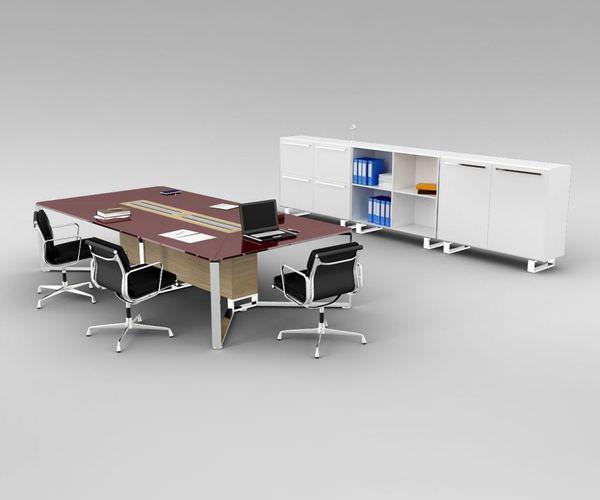 Simple Office Furniture 3D Model Skp  CGTradercom
