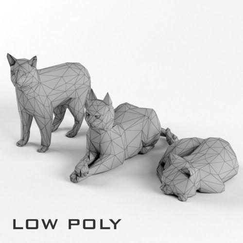 low poly cat set animal lowpoly 3d model low-poly max obj mtl fbx 1