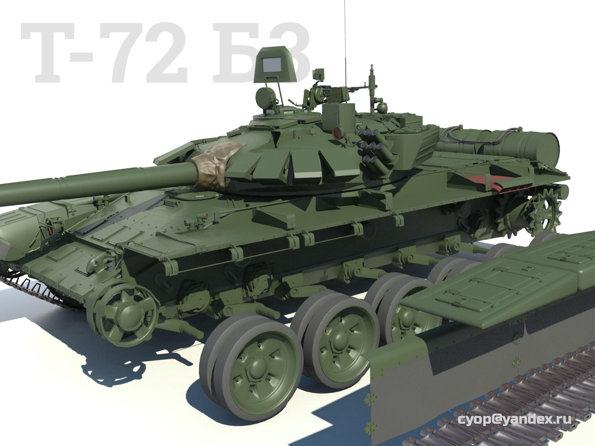 T-72B3 Modern russian main battle tank 4 in 1 3D Model MAX ...