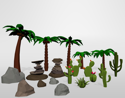 3D asset Oasis desert low poly set