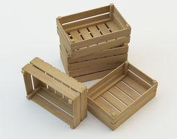 3D model wooden boxes