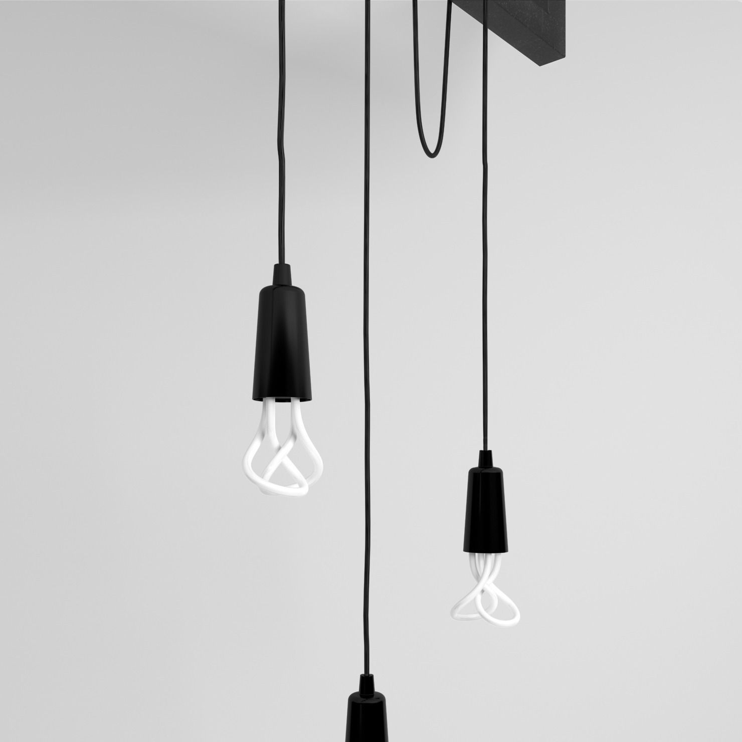 Cable Bar Pendant Light With Original Plum... 3D Model MAX