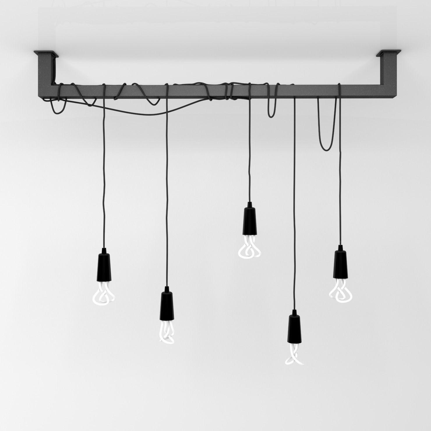 Cable Bar Pendant Light With Original Plumen 001 Bulbs Model Max Obj Fbx