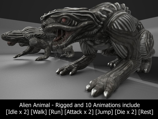 alien animal rigged and animated 3d model low-poly rigged animated obj mtl 3ds fbx dxf blend dae 1