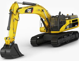 excavator cat 345 dl 3d model low-poly