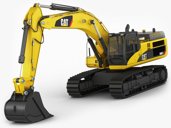 excavator cat 345 dl 3d model low-poly max obj 3ds fbx c4d lwo lw lws 1