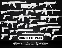 VR / AR ready 3d asset complete weapons pack - models and textures