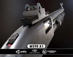realtime mossberg 590a1 - model and textures 3d asset