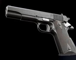 realtime colt 1911 black and chrome - model and textures 3d asset