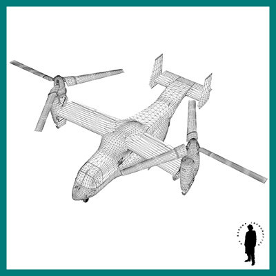 OSPREY V-22 HELICOPTER 3D Model .max