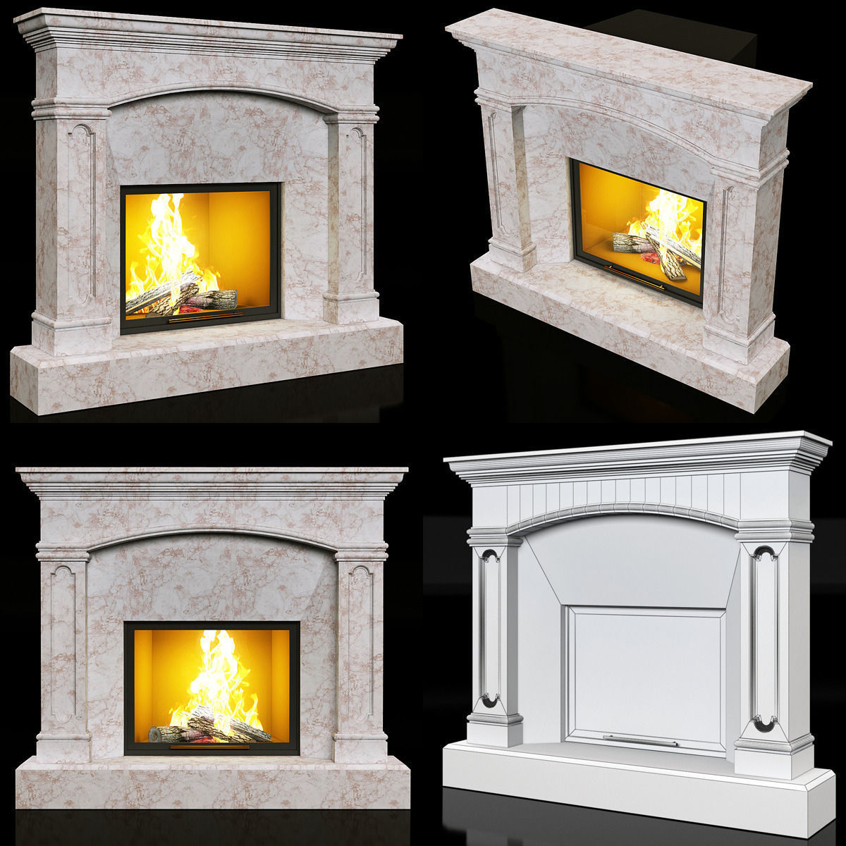 Contemporary Marble Fireplace 3d Model Cgtrader