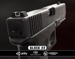 glock 22 - model and textures low-poly