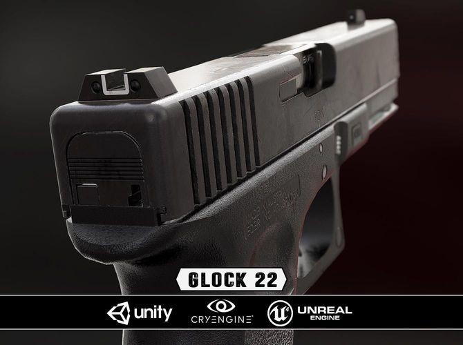 glock 22 - model and textures 3d model low-poly obj mtl fbx tga 1