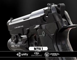VR / AR ready 3d asset m9a1 black and chrome plus flashlight - model and textures