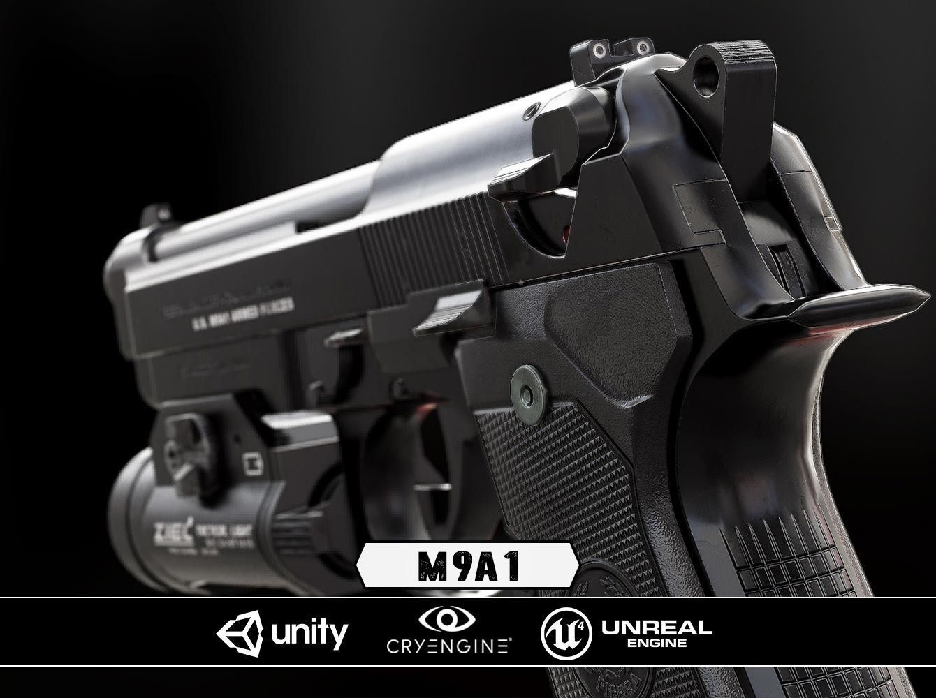 M9A1 Black and Chrome plus Flashlight - Model and Textures | 3D model