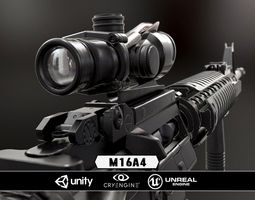 realtime m16a4 and acog scope  - model and textures 3d asset