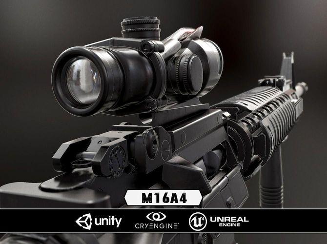 m16a4 and acog scope  - model and textures 3d model low-poly obj fbx tga 1